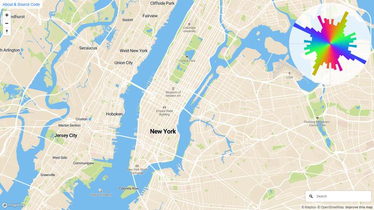 Analiza cómo se expande la vialidad de tu ciudad en esta mapa interactivo, Expansión vial de Nueva York, según Mourner. Image
