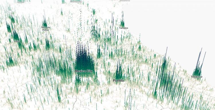 Human Terrain, el mapa interactivo que visualiza cuánta gente vive en cada punto del mundo, Human Terrain, la herramienta digital desarrollada por Matt Daniels. Image Cortesía de Matt Daniels