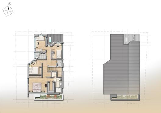 Second floor plan + Roof plan