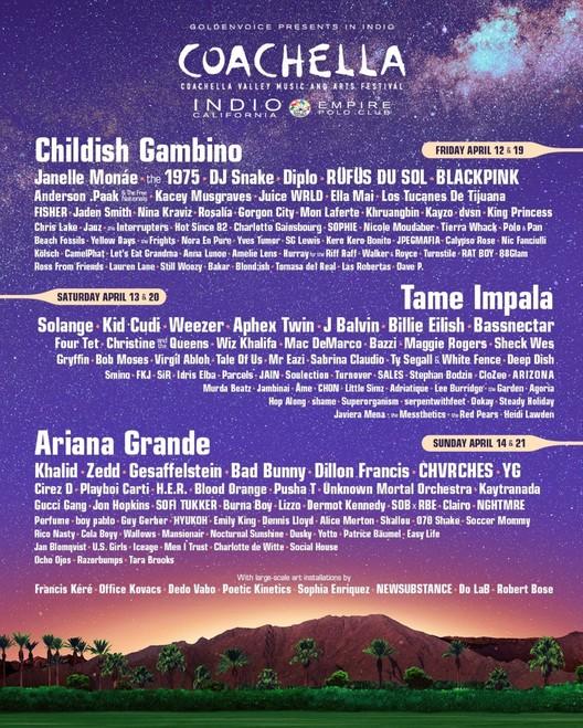 2019 Lineup. Image Courtesy of Coachella