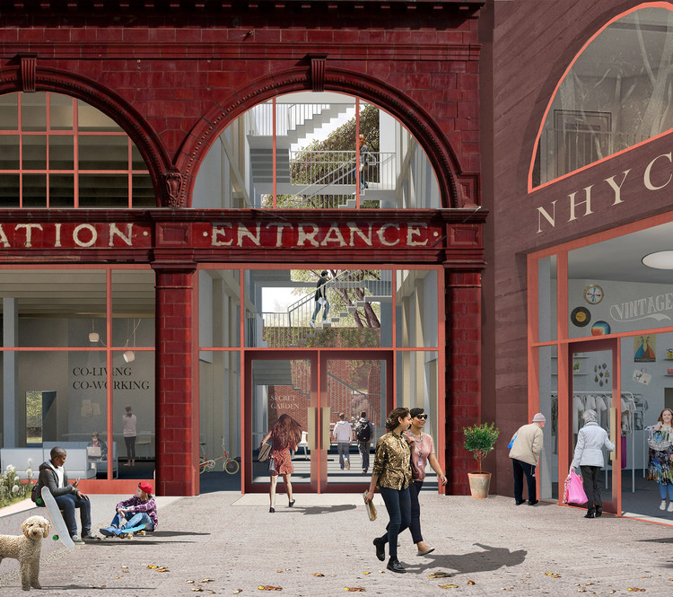 Morris + Company Imagines London Tube Station Repurposed for the Homeless, Entrance. Image Courtesy of Morris + Company