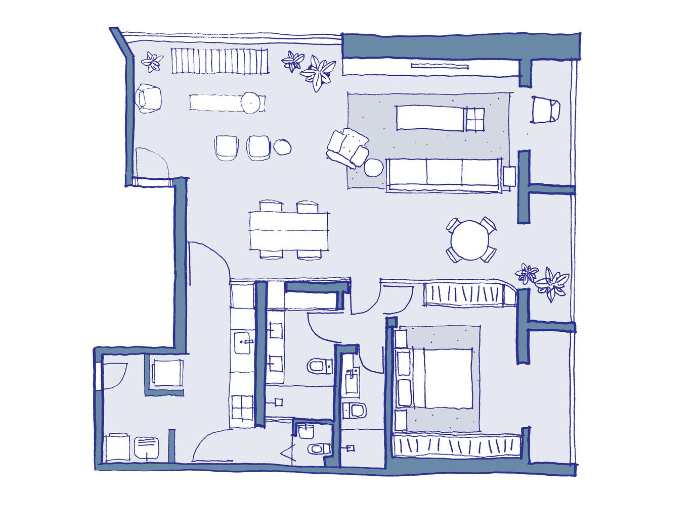 Sabá Apartment Estúdio Bra Sketch Floor Plan
