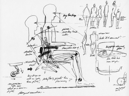 Sketches by Bill Stumpf, that show his desire to design a chair that works for all kinds of bodies. Image Courtesy of Herman Miller