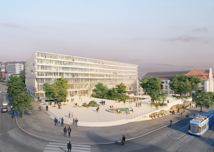 "Herzog & de Meuron design a ""Hovering Trapezoid Structure"" for the University of Zurich, © Herzog & de Meuron"