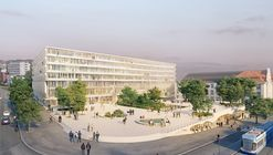 "Herzog & de Meuron design a ""Hovering Trapezoid Structure"" for the University of Zurich"