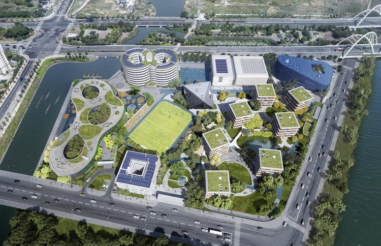 OPEN Architecture Designs a Village for Learning in Shanghai, Qingpu Pinghe School. Image Courtesy of OPEN Architecture