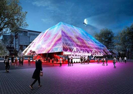 Summer Cinema Pavilion. Image Courtesy of Syndicate Architects