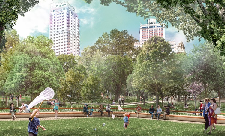 Madrid comenzará en febrero la reforma de la Plaza de España , Welcome Mother Nature, diseño ganador para la reforma de la Plaza de España. Image Cortesía de Porras La Casta Arquitectos