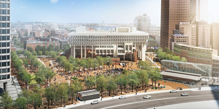 Boston City Hall Celebrates 50th Anniversary, Prepares for Major Renovation, Boston City Hall. Image Courtesy of Utile and Reed Hilderbrand