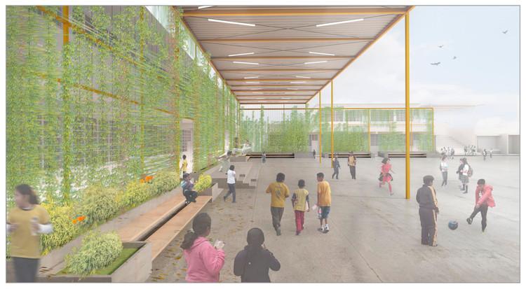 Hogar del conocimiento: un patio que integra la escuela en Lima, Vista interior. Image Cortesía de PISE