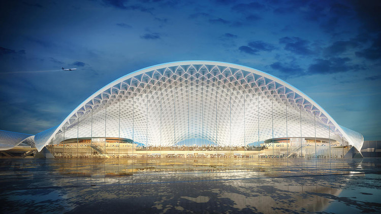 Five Designs for Chicago's O'Hare Global Terminal go to Public Vote, O'Hare International Airport expansion. Image Courtesy of Foster Epstein Moreno