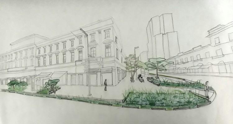 Projetos Urbanos de Infraestrutura Verde - Curso de Extensão Universitária, Riciane Pombo (Arquiteta e Urbanista). Proposta de Infraestrutura Verde para a Rua Mauá - Bairro da Luz, São Paulo (Coletivo UrbAmbiental, 2018).