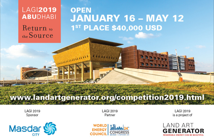 Land Art Generator Initiative 2019 - Masdar City, The LAGI 2019 design site is a landmark public park are within the Masdar City masterplan.