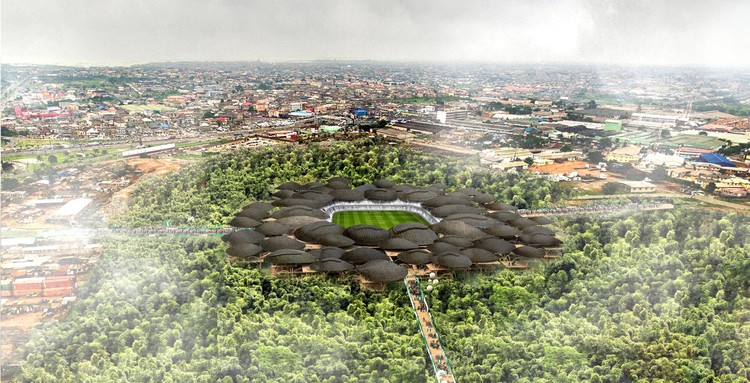 Competition-Winning Ideas for Multi-Purpose Stadiums on Former Lagos Landfill, First Place: Bamboo Stadium. Image via arch out loud