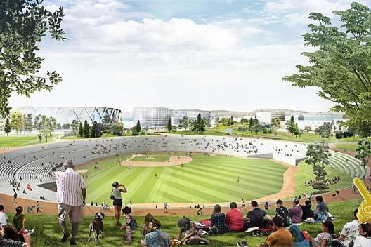 Oakland-Alameda Coliseum. Image Courtesy of Bjarke Ingels Group