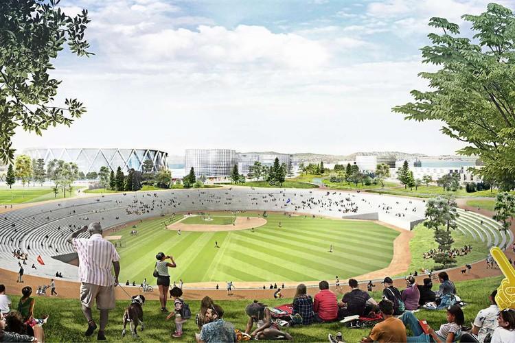 BIG Designs a 21st Century Ruin for Oakland's Coliseum, Oakland-Alameda Coliseum. Image Courtesy of Bjarke Ingels Group