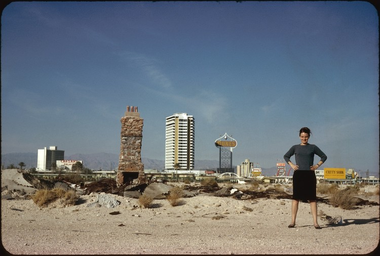 Courtesy of Venturi, Scott Brown and Associates Inc.. ImageDenise Scott Brown in front of The Strip, Las Vegas, NV, US, 1966