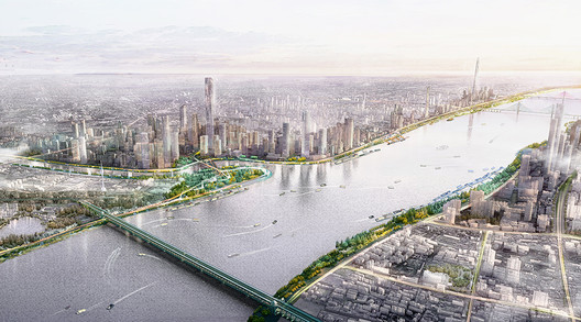 The Yangzte Riverfront is an integral part of Wuhan's open space network, and is designed to celebrate the river's spontaneity.. Image Courtesy of Sasaki