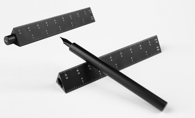 "ENSSO launch ""Scale Ruler Fountain Pen"" made from Black Aluminum"