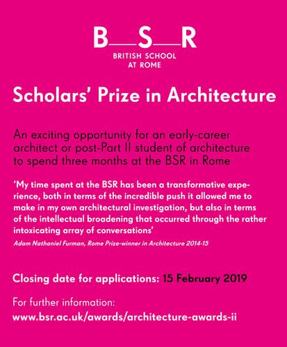 Scholars' Prize in Architecture 2019-20