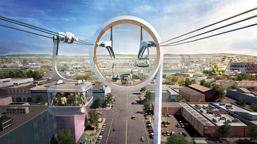 Oakland Gondola. Image Courtesy of Bjarke Ingels Group