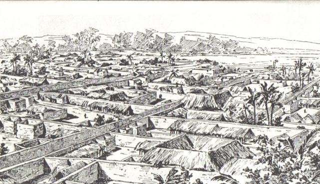 Drawing of Benin City made by an English officer, 1897. Image via Wikimedia