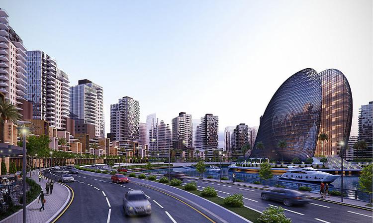 A rendering of Eko-Atlantic City, Lagos, Nigeria. Image via ekoatlantic.com