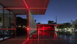 Barcelona Pavilion Transformed into Grid of Lasers by Luftwerk & Iker Gil