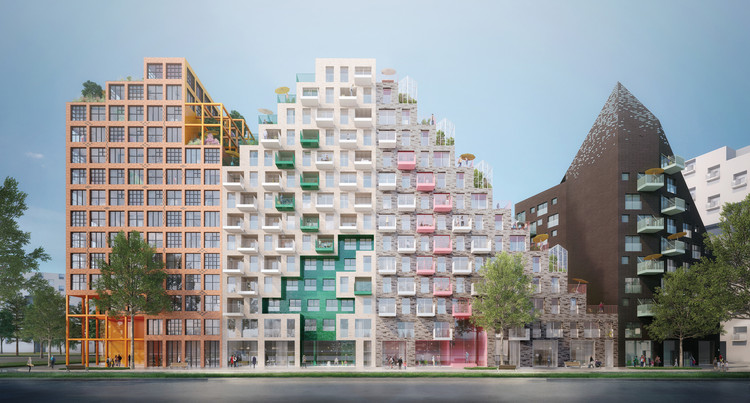 Manuelle Gautrand Designs Futuristic Housing Block for Amsterdam, Hyde Park Residence. Image Courtesy of Romain Ghomari