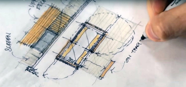 "Os melhores tutoriais de desenho para arquitetos no youtube, Screenshot do vídeo ""Sketch like an Architect (Techniques + Tips from a Real Project)"", de 30X40 Design Workshop"