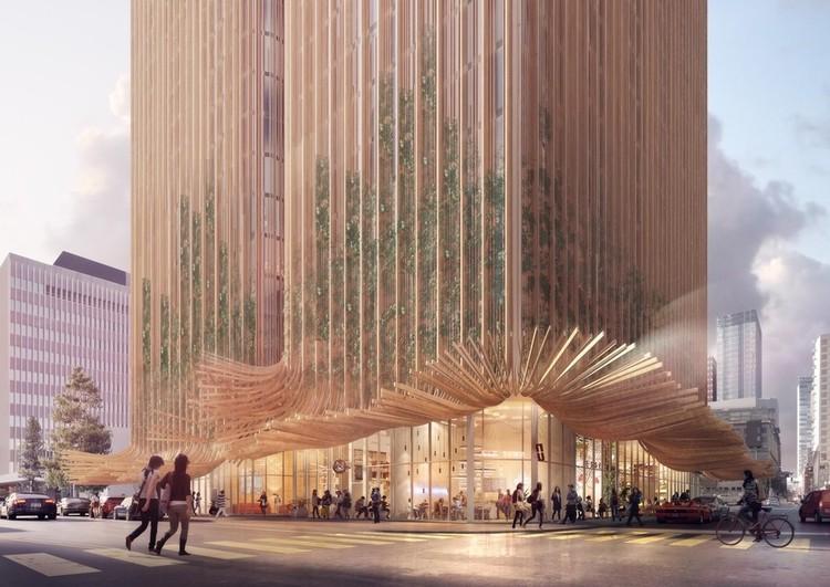 Edifício inspirado na saia esvoaçante de Marilyn Monroe é proposto em Los Angeles, Sky Trees. Cortesia de Koichi Takada Architects