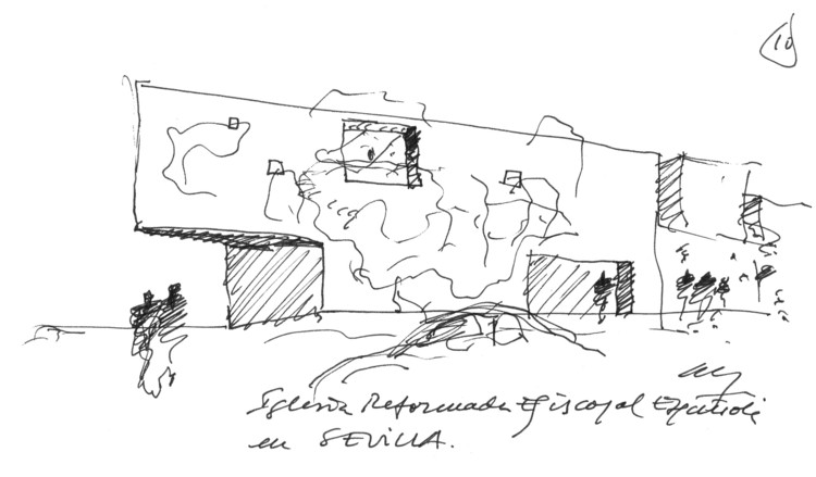 A Selection of the Best Architecture Sketches: Alberto Campo Baeza, Iglesia Sevilla 2004. Image Cortesía de Alberto Campo Baeza