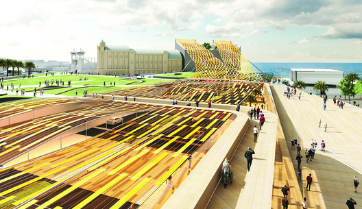 Light Up, by NH Architecture, Ark Resources, John Bahoric Design, and RMIT architecture students is the winner of the 2018 Land Art Generator Initiative design competition for Melbourne, and generates 2,220 MWh of clean energy.