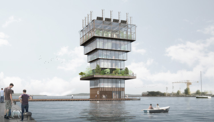 Studio NAB designs a Floating Urban Farming Tower for Future Cities, © Studio NAB