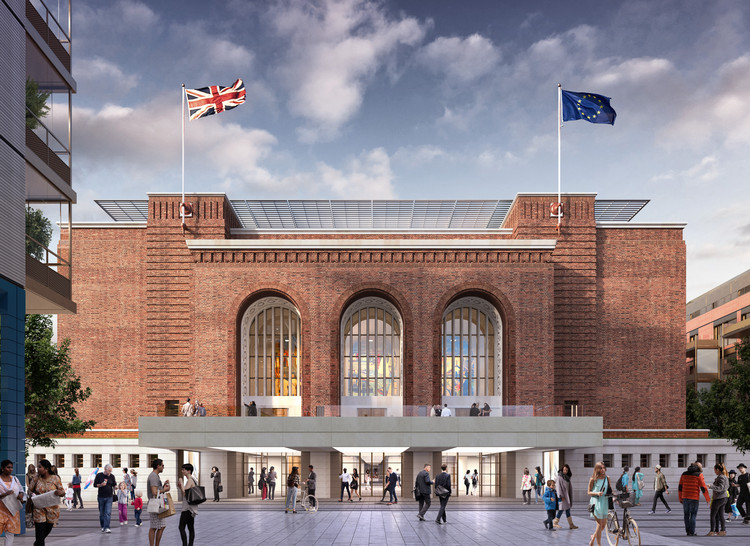 Rogers Stirk Harbour + Partners Gains Approval for Hammersmith Town Hall Refurbishment in London, Visualisation of Hammersmith Town Hall. Image © 7-T