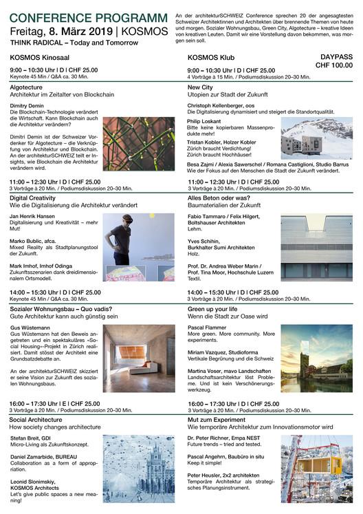 architekturSCHWEIZ 19 | CONFERENCE, Programm Conference | architekturSCHWEIZ