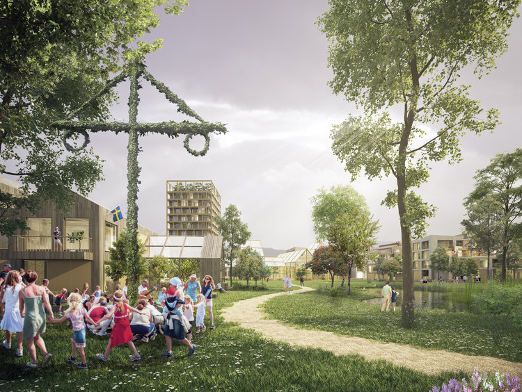 Henning Larsen reimagina a cidade jardim na Suécia, Humlestaden. Cortesia de Henning Larsen