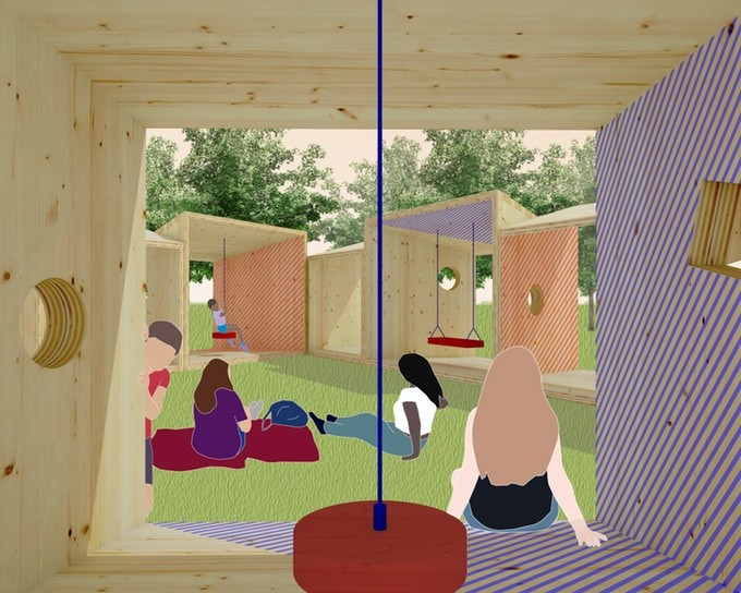AIA New York Selects the City of Dreams Pavilion to be Built from Salvaged Timber, Salvage Swings - View in Swing Module. Image © Somewhere Studio