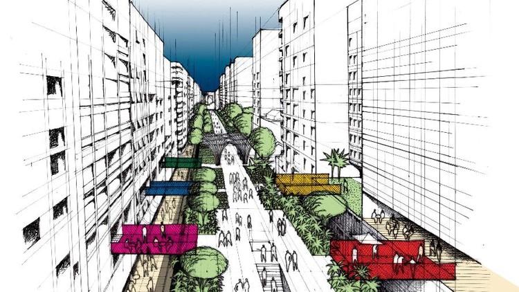 Prefeitura de São Paulo transformará Minhocão em parque elevado - e isso é bom?, Desenho do parque elevado no Minhocão. Imagem: Prefeitura de São Paulo