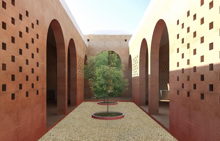 Mosque Baidoa Main Courtyard Render. Image Courtesy of Design Indaba