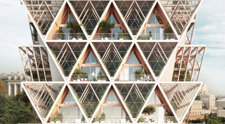 Precht Designs Timber Skyscrapers with Modular Homes and Vertical Farming, The Farmhouse Concept. Image Courtesy of Precht