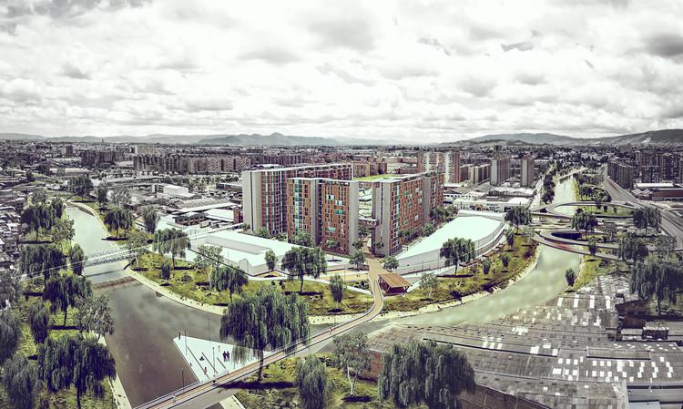 Primeiro lugar no concurso para Habitação Social em Bogotá / Vigliecca & Associados + Ensamble de Arquitectura Integral, Vista aérea. Image Cortesia de Equipe de projeto