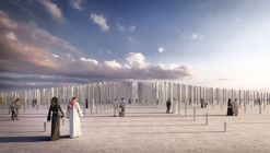 """OMA and Inside Outside """"Honor Generosity"""" with a Field of Engraved Columns in Dubai"""