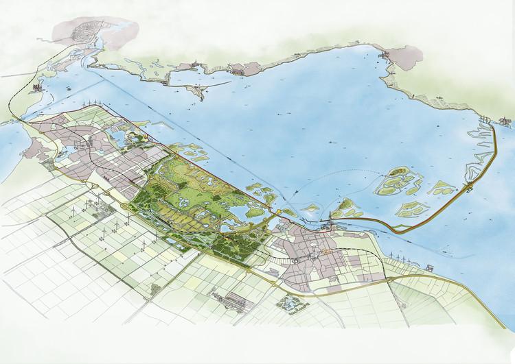 Mecanoo projeta o maior parque natural do mundo nos Países Baixos, Nieuw Land National Park. Cortesia de Mecanoo