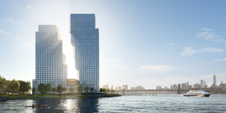 OMA's Dancing Towers will Revive Brooklyn's Post-Industrial Waterfront, North View. Image © OMA