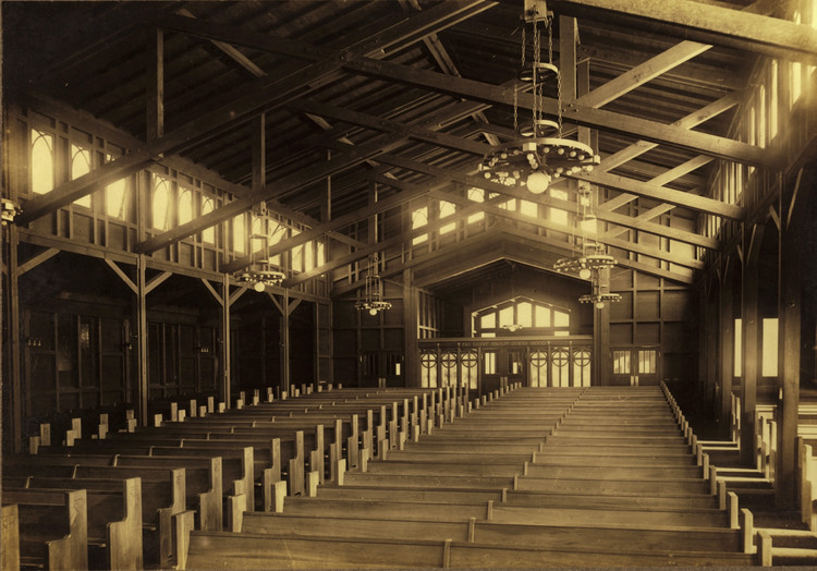 Julia Morgan: The Trailblazing Female Architect Overlooked No More by The New York Times, Interior of St. John's Presbyterian Church in Berkeley, CA. Image © Mark Anthony Wilson
