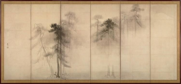 """O conceito """"ma"""" para Arata Isozaki: um modo de ver o mundo, Shorin-zu Byobu - lado esquerdo de um díptico da autoria de Hasegawa Tohaku. Image via Wikipédia"""