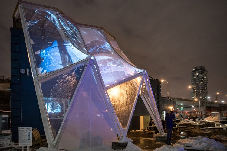 Sidewalk Labs Tests a 'Raincoat' for Buildings in Toronto, Building Raincoat Prototype. Image © David Pike