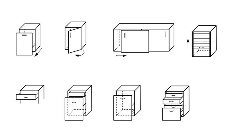 Posibilidades de abertura y iipos de cajones. Guía para el diseño de cocinas / Häfele. Image Cortesía de Häfele