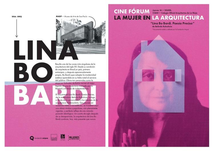 """Proyección del documental """"Lina Bo Bardi. Poesía Precisa"""" de Fundación Arquia, Folleto documental Lina Bo Bardi. Diseño Estudio Marlo."""